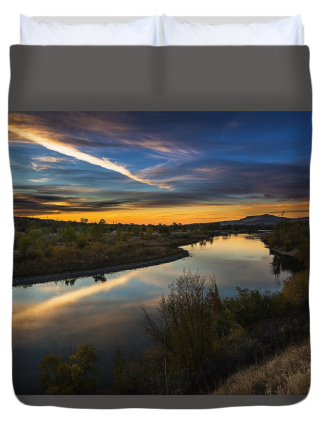 Idaho Duvet Cover featuring the photograph Dramatic Sunset Over Boise River Boise Idaho by Vishwanath Bhat