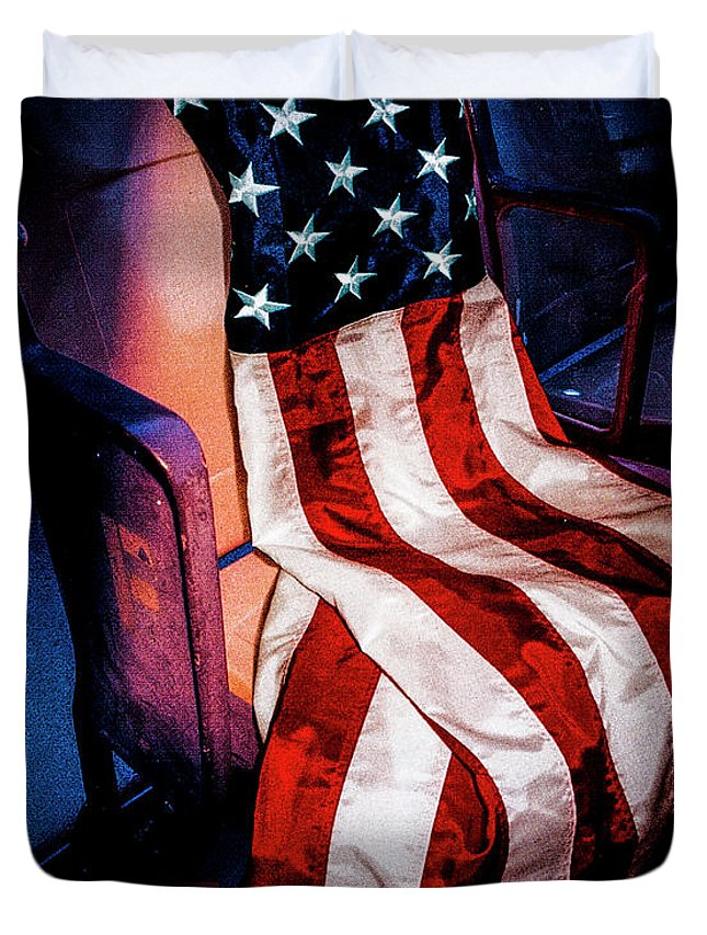 Osama Bin Laden Duvet Cover featuring the photograph Draped American Flag by Julian Starks