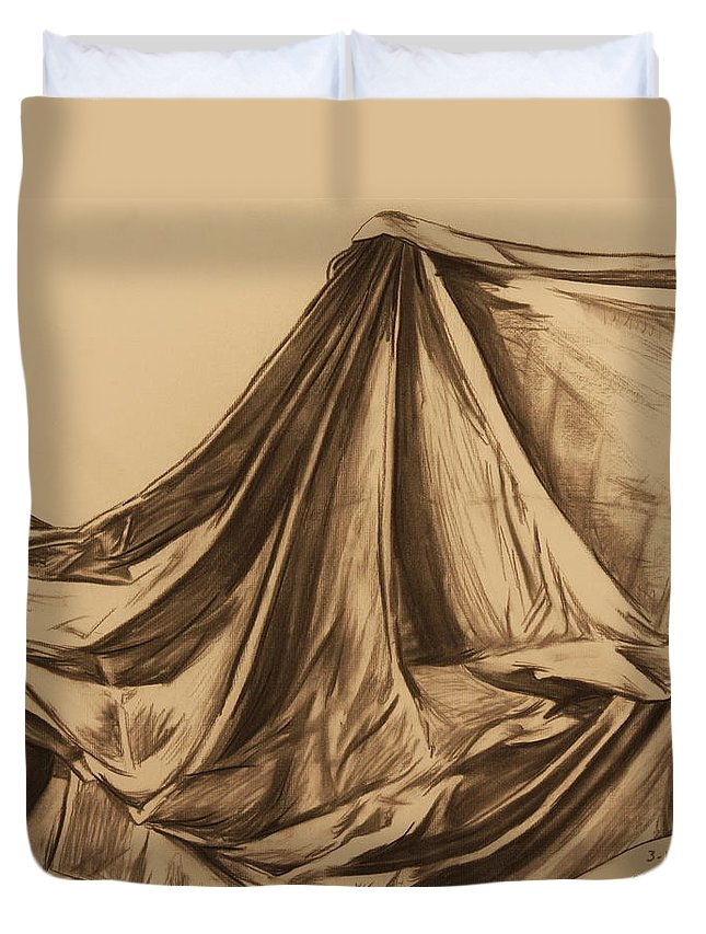 Fabric Duvet Cover featuring the drawing Draped Fabric by Michelle Miron-Rebbe