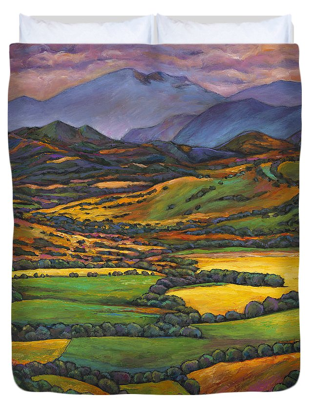 European Landscape Duvet Cover featuring the painting Draped In A Dream by Johnathan Harris