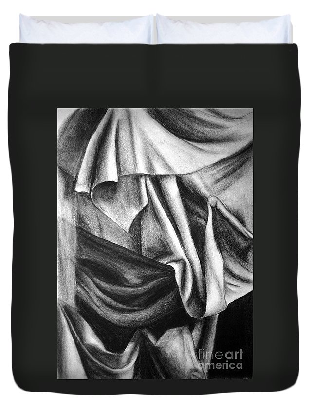 Charcoal Duvet Cover featuring the drawing Drapery Still Life by Nancy Mueller