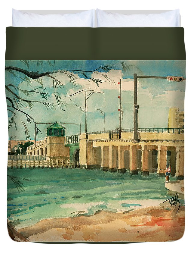 Landscape Duvet Cover featuring the painting Drawbridge by Thomas Tribby