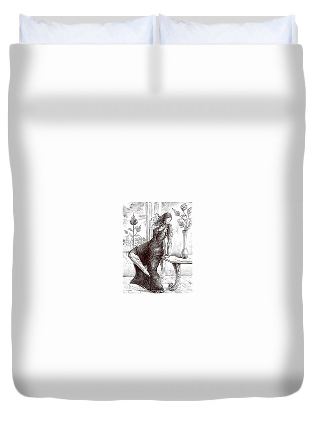 Surrealism Duvet Cover featuring the drawing Drawing 12 by Darwin Leon