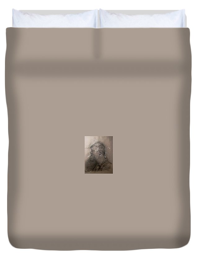 Michaellane Duvet Cover featuring the drawing Drawing Of A Stagehand by Michael Lane