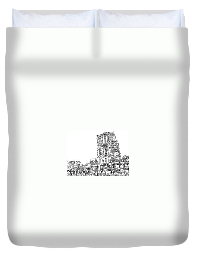 Drawing Duvet Cover featuring the photograph Drawing The Building by Michelle Powell