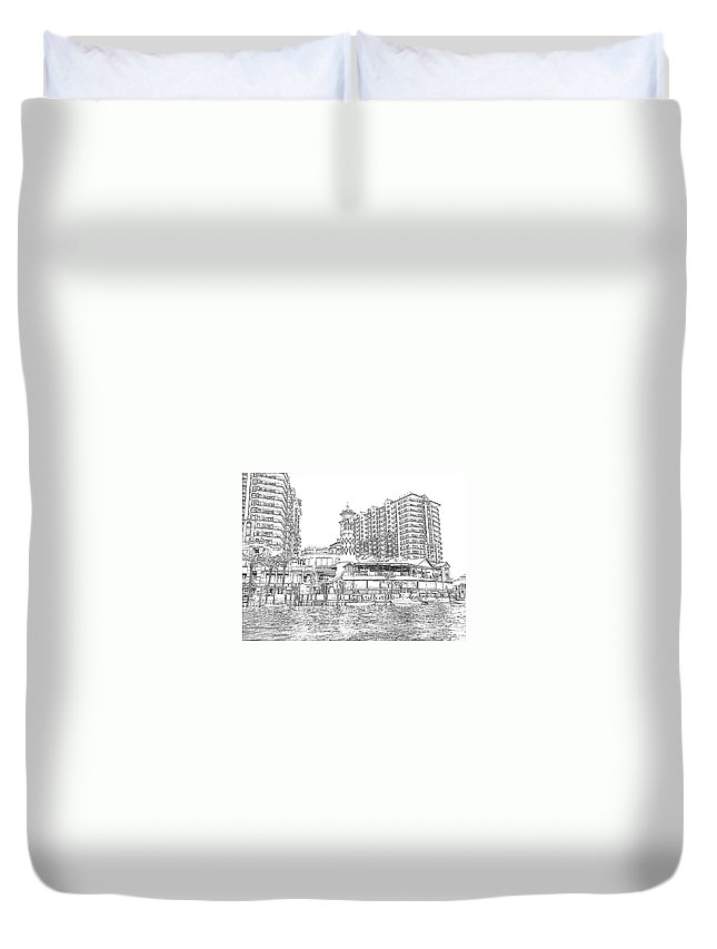 Drawing Duvet Cover featuring the photograph Drawing The Harbor by Michelle Powell