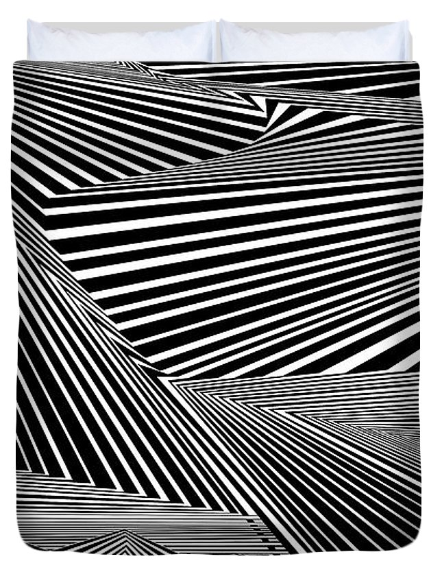 Dynamic Black And White Duvet Cover featuring the digital art Drawrofdrawrof by Douglas Christian Larsen