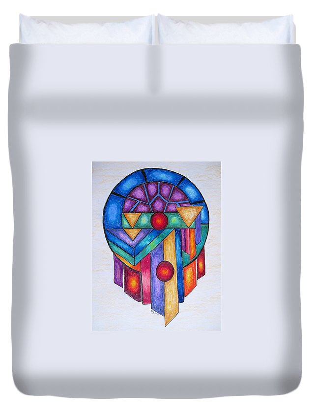 Abstracts Duvet Cover featuring the drawing Dream Catcher Abstract by Megan Walsh