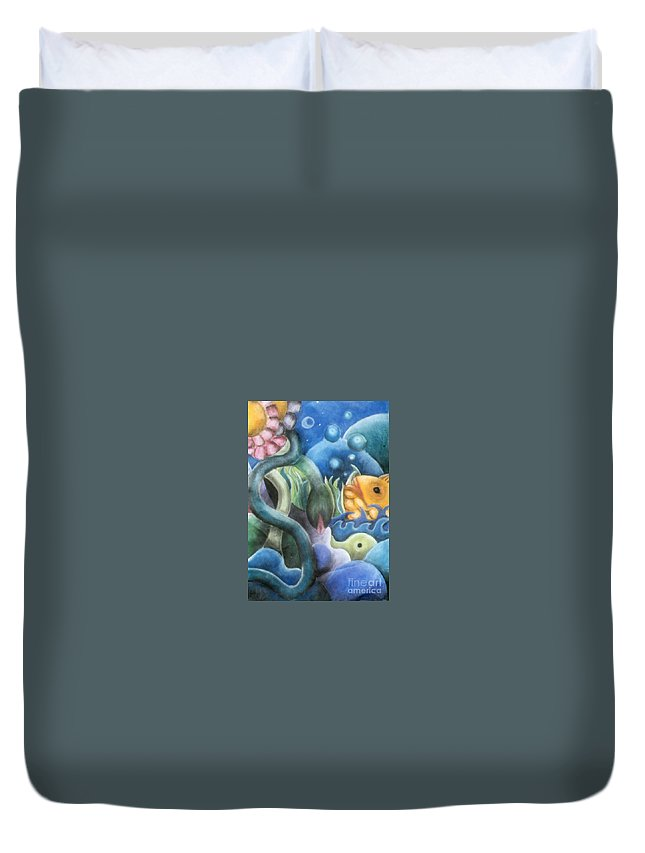 Fish Duvet Cover featuring the pastel Dream Fish by Caroline Peacock