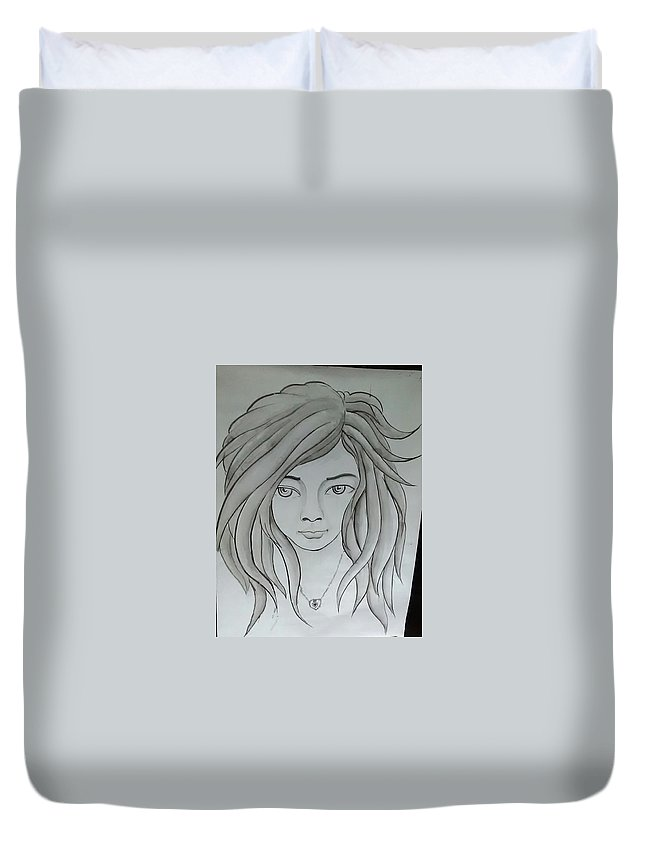 Duvet Cover featuring the painting Dream Girl by Pritam Modak