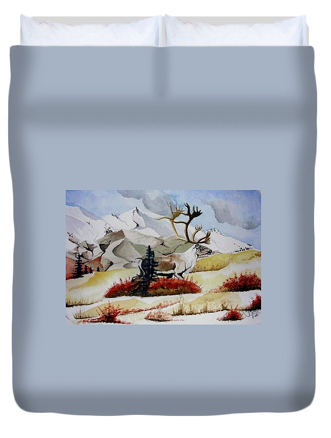 Alaska Duvet Cover featuring the painting Dream Hunt by Jimmy Smith