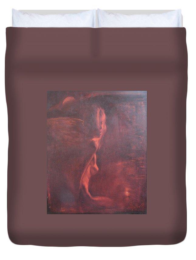 Ignatenko Duvet Cover featuring the painting Dream in hot night by Sergey Ignatenko