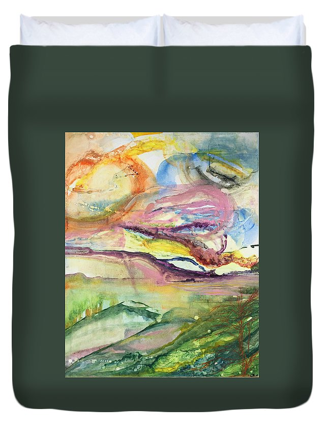 Landscape Duvet Cover featuring the painting Dream Landscape by Catalina Arias