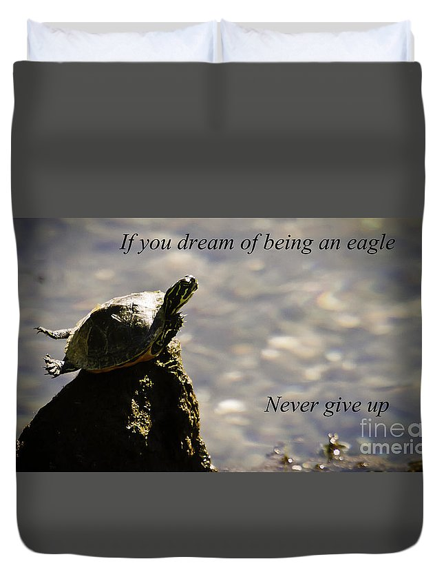 Turtle Duvet Cover featuring the photograph Dream Of Being An Eagle by Tress Chapin