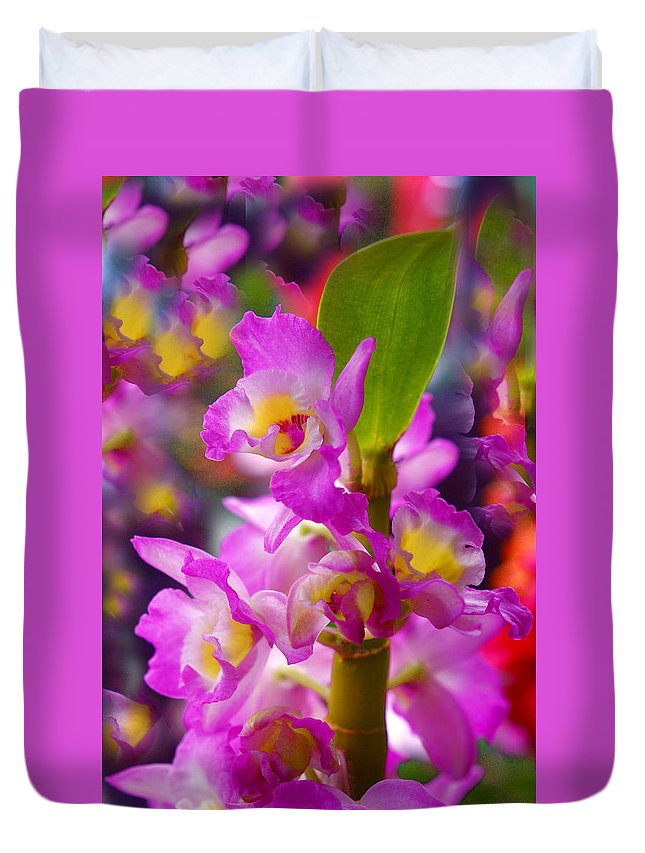 Orchids Duvet Cover featuring the photograph Dream Of Spring by Byron Varvarigos