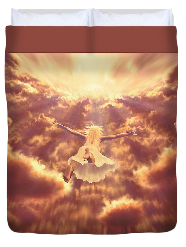 Ascention Duvet Cover featuring the painting Dream Quest by Robby Donaghey