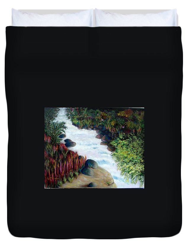 River Duvet Cover featuring the painting Dream River by Laurie Morgan