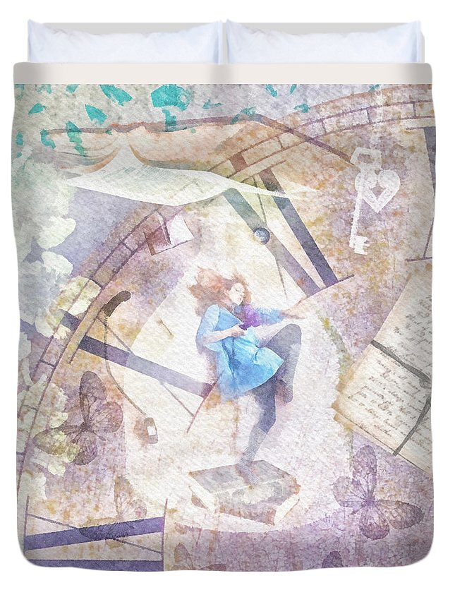 Dreamer Duvet Cover featuring the painting Dreamer by Mo T