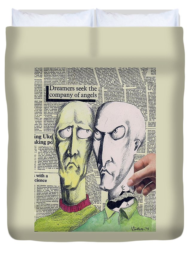 Dreamers Angels Faces Duvet Cover featuring the mixed media Dreamers by Veronica Jackson