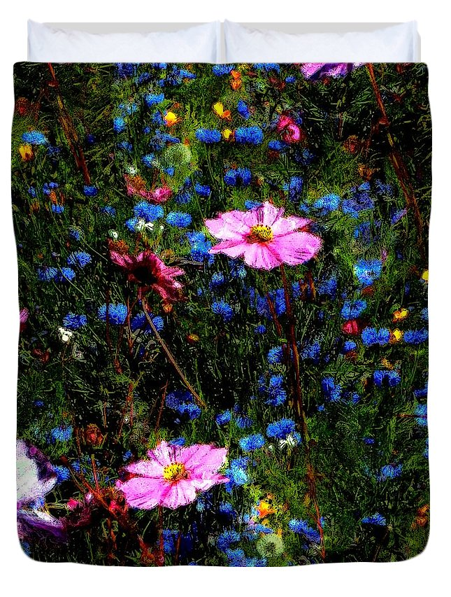 Flowers Duvet Cover featuring the painting Dreamgarden by RC DeWinter