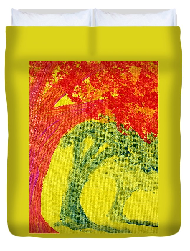 Orange Duvet Cover featuring the painting Dreaming And Shadows by Laurette Escobar