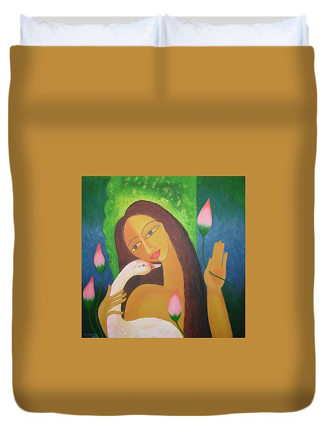 Dreaming Girl Duvet Cover featuring the painting Dreaming Girl by Riya Rathore