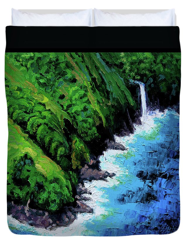 Ocean Duvet Cover featuring the painting Dreaming of Hawaii by John Lautermilch