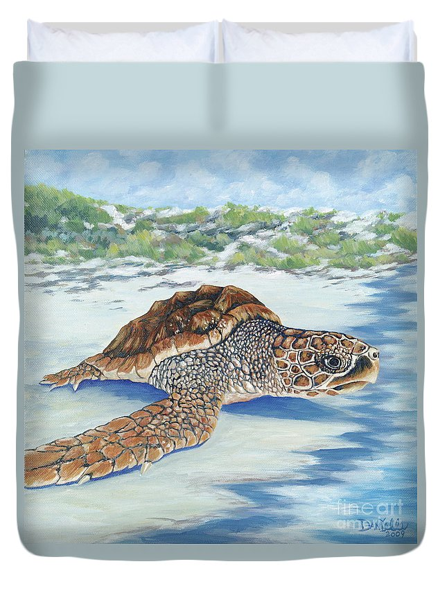 Sea Turtle Duvet Cover featuring the painting Dreaming Of Islands by Danielle Perry