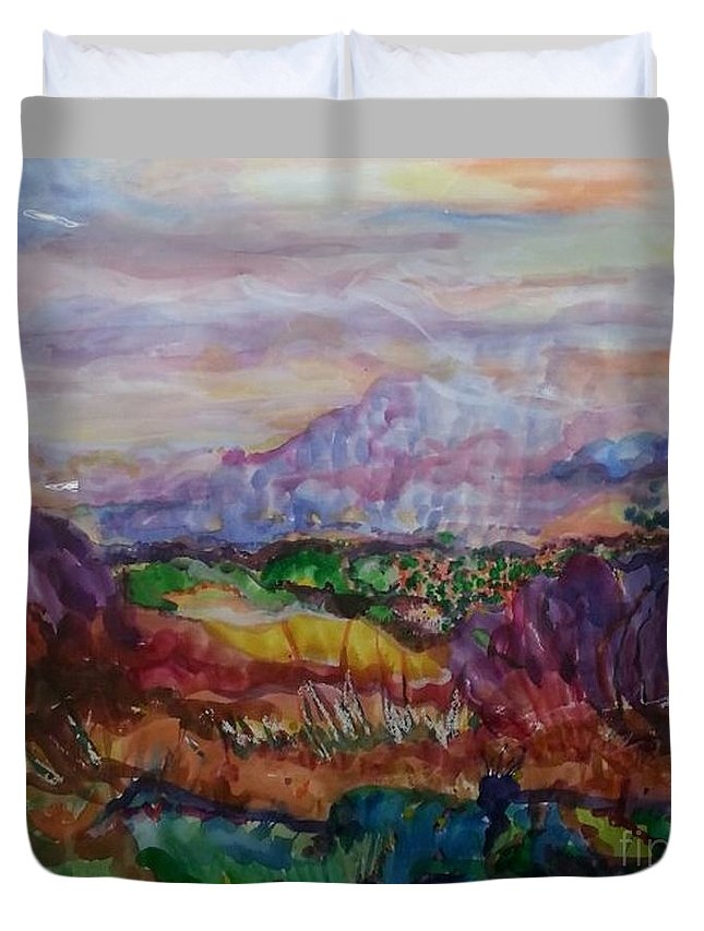 Impressionism Duvet Cover featuring the painting Dreaming Pikes Peak by Patty Mowatt