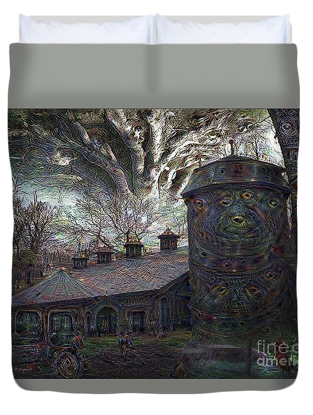Card Duvet Cover featuring the digital art Dreaming Silent Screaming by Rhonda Strickland