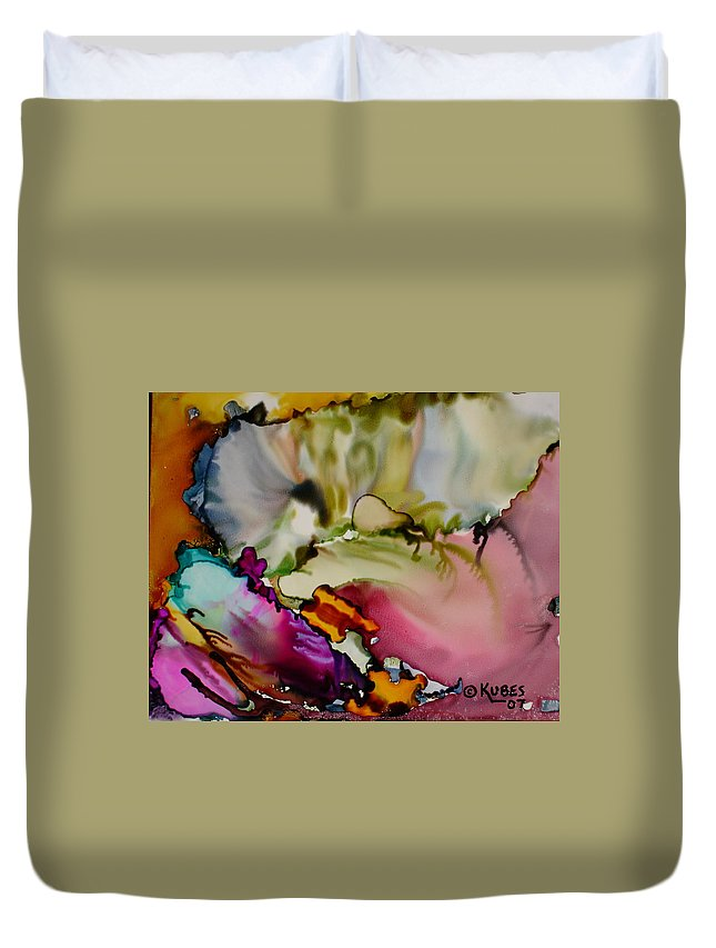 Abstract Duvet Cover featuring the painting Dreaming by Susan Kubes