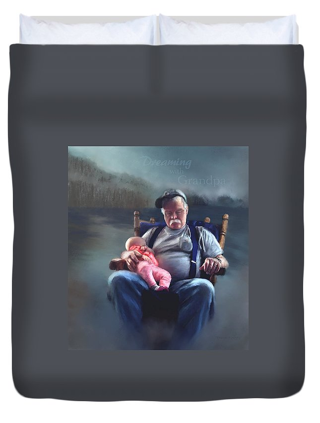Dreams Duvet Cover featuring the painting Dreaming With Grandpa by Susan Kinney