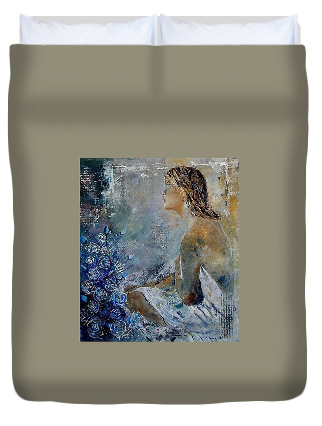 Girl Duvet Cover featuring the painting Dreaming Young Girl by Pol Ledent