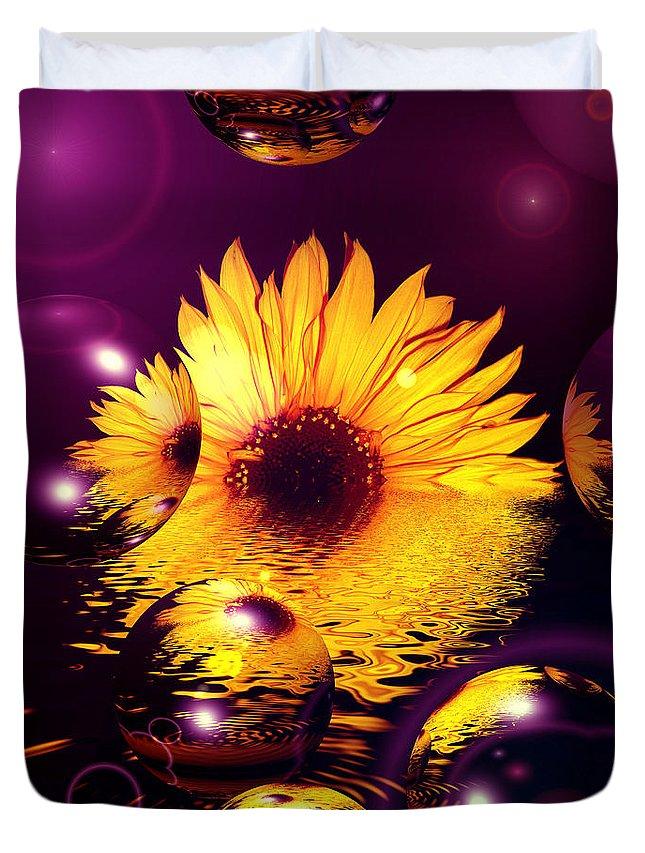 Sunflower Duvet Cover featuring the digital art Dreams 4 - Sunflower by P Donovan