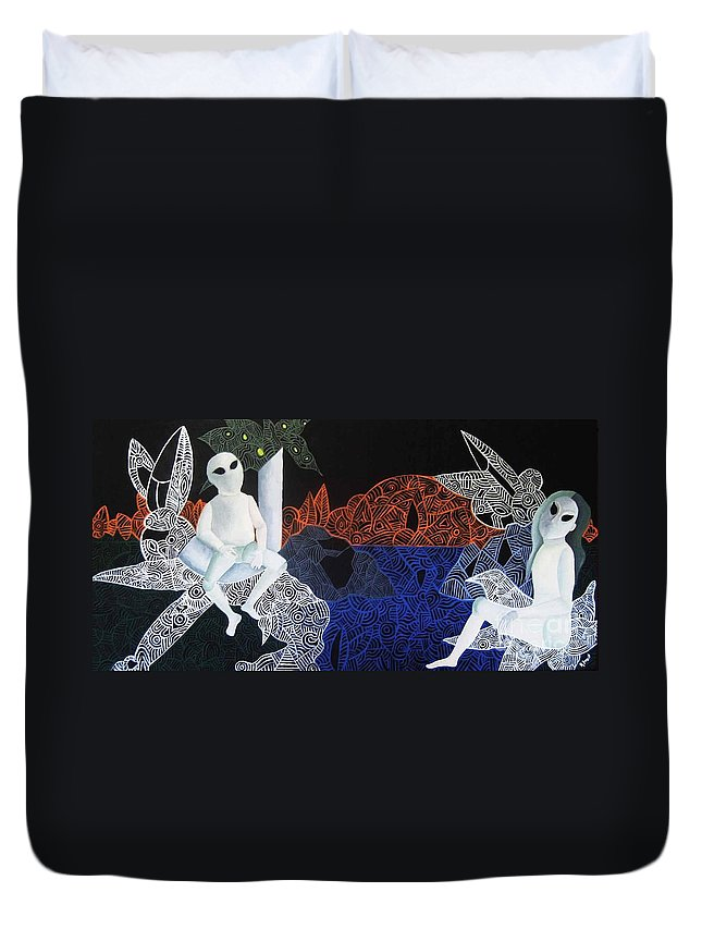 Surreal Dreamscape Duvet Cover featuring the painting Dreams Of Broken Dolls by Reb Frost