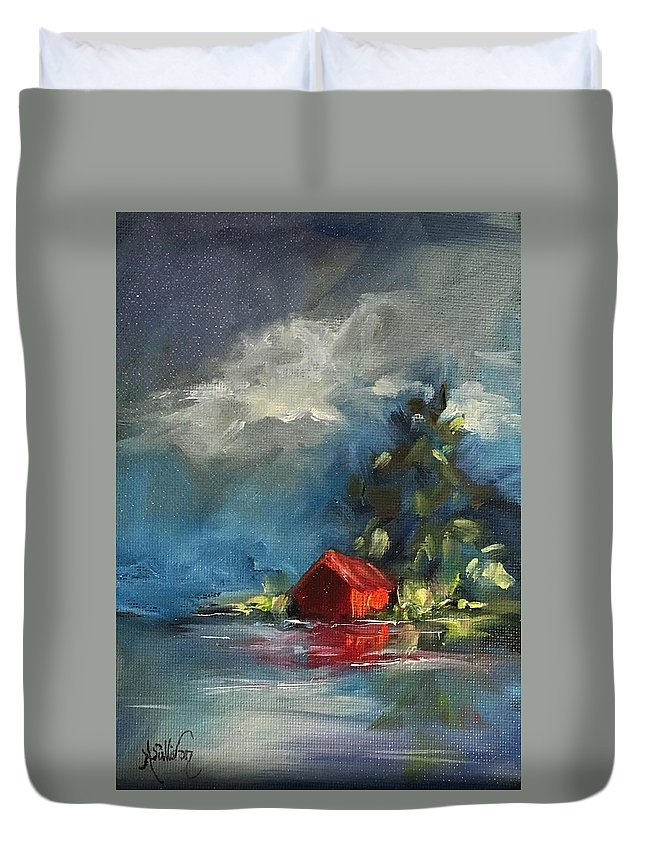 Barn Duvet Cover featuring the painting Dreams Realy Do Come True by Angela Sullivan