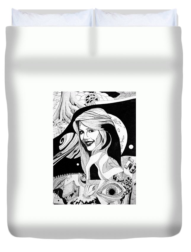 Woman Duvet Cover featuring the drawing Dreams by Shaun McNicholas