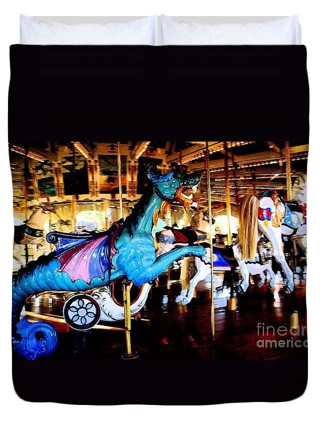 Carousel Duvet Cover featuring the photograph Dreams Take Flight by Linda Shafer