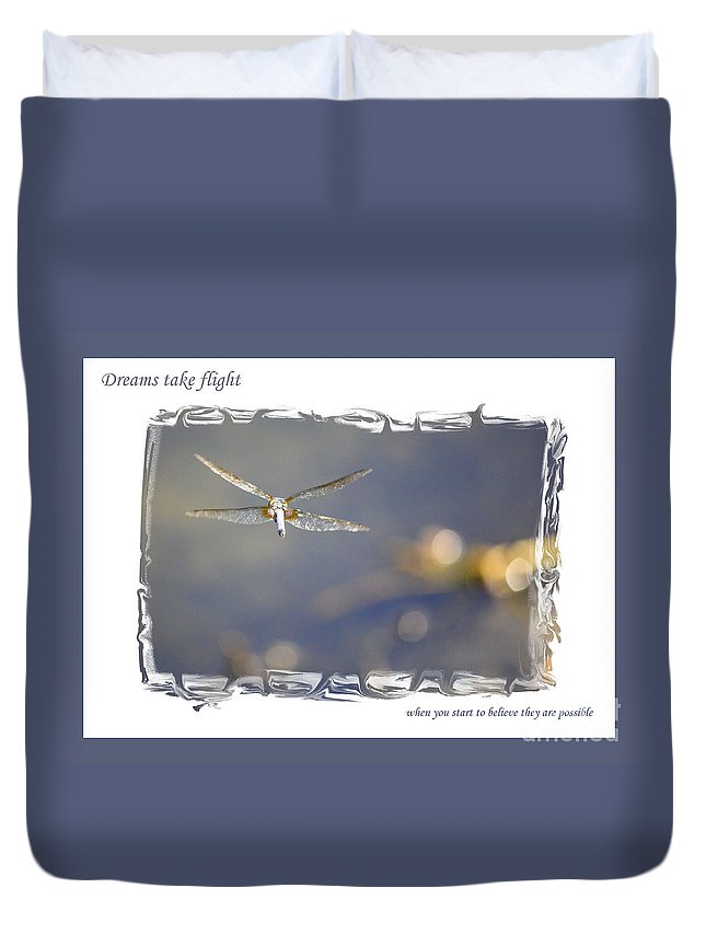 Greeting Cards Duvet Cover featuring the photograph Dreams Take Flight Poster Or Card by Carol Groenen