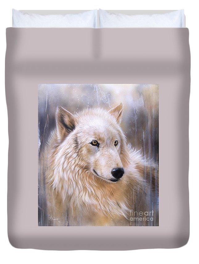 Wolf Arctic Duvet Cover featuring the painting Dreamscape - Wolf II by Sandi Baker