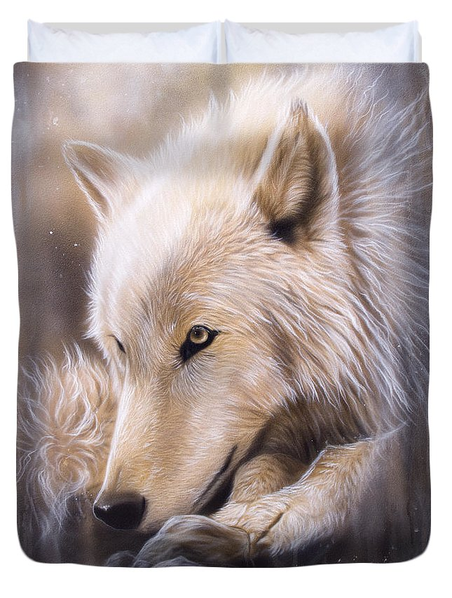 Wildlife Art Duvet Cover featuring the painting Dreamscape - Wolf by Sandi Baker