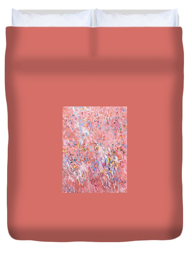 Abstract Field Duvet Cover featuring the painting Dreamsicle Fields Forever by Charles Wallis
