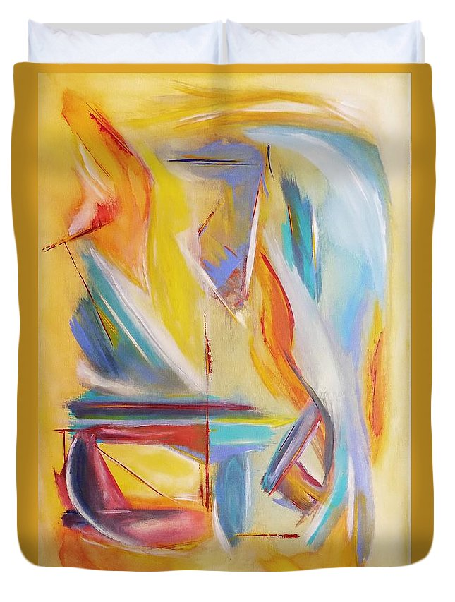 Pastel Duvet Cover featuring the painting Dreamsicle by Thomas Chasm