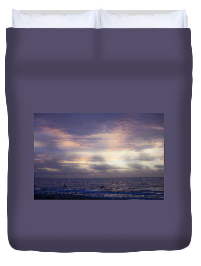 Sunrise Duvet Cover featuring the photograph Dreamy Blue Atlantic Sunrise by Teresa Mucha