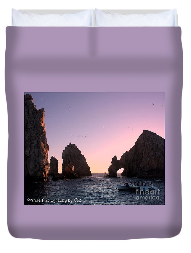 Dreamy Duvet Cover featuring the photograph Dreamy Cabo Sunset The Arch by Charlene Cox