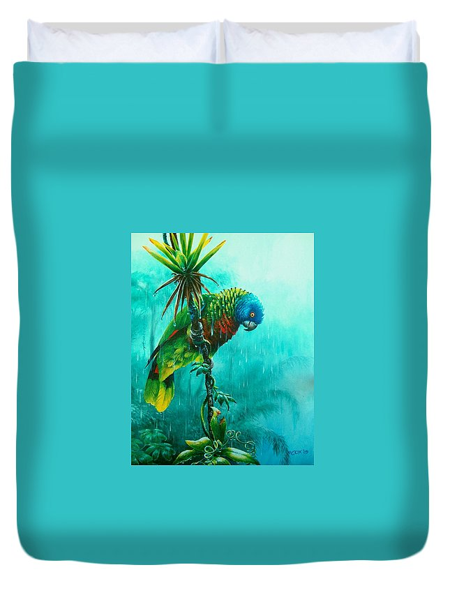 Chris Cox Duvet Cover featuring the painting Drenched - St. Lucia Parrot by Christopher Cox