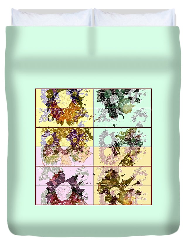 Colorful Duvet Cover featuring the mixed media Dried Flower by Ann Calvo