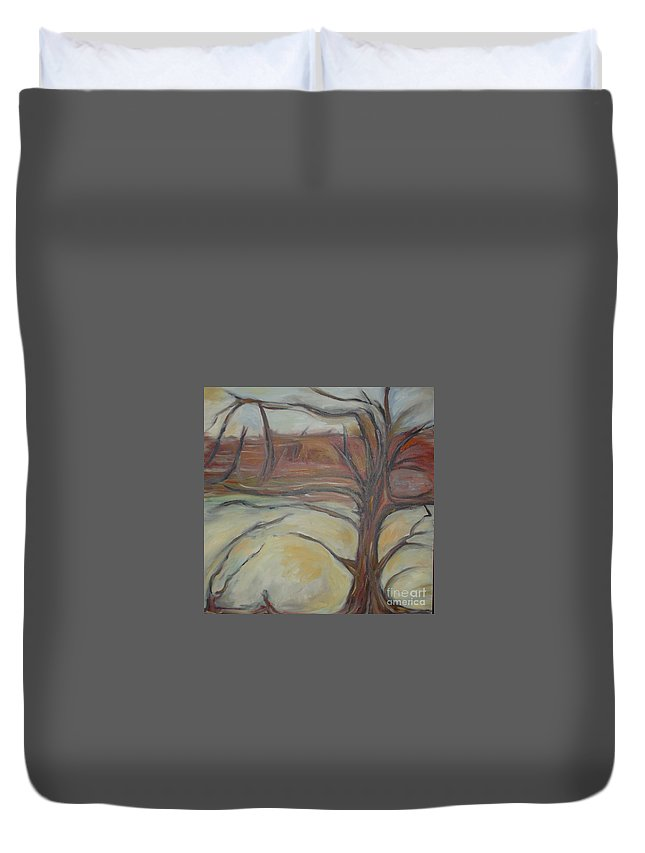 Woods Tree Abstract Original Painting Winter Duvet Cover featuring the painting Drift by Leila Atkinson