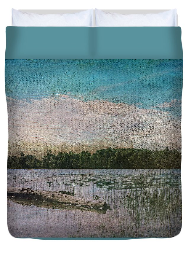 River Duvet Cover featuring the digital art Drifting Downstream by Sarah Vernon