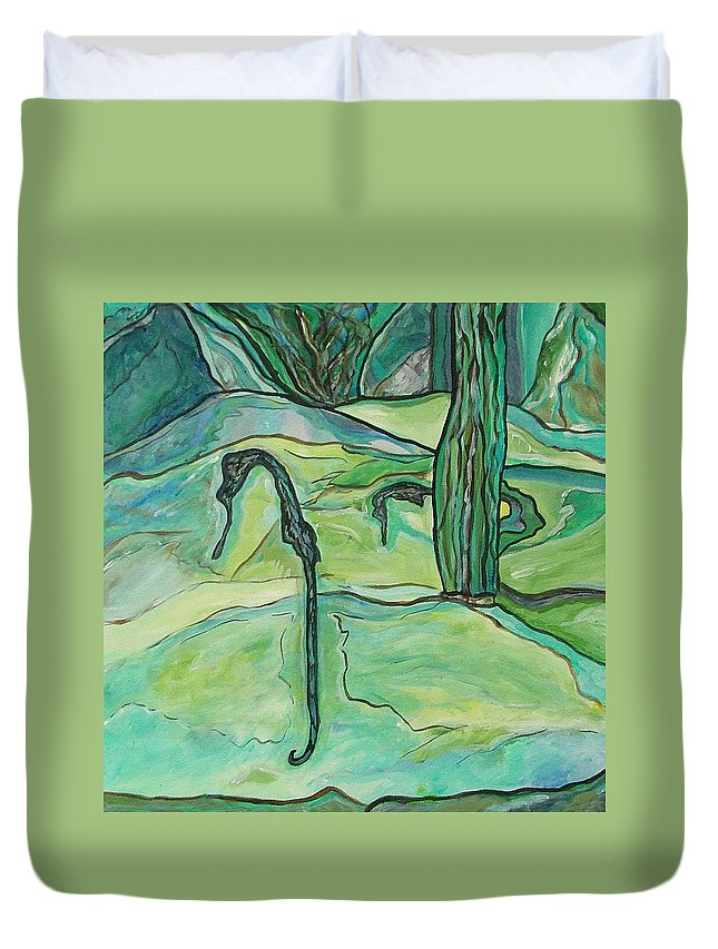 Seahorse Duvet Cover featuring the painting Drifting Seahorse by Heather Lennox